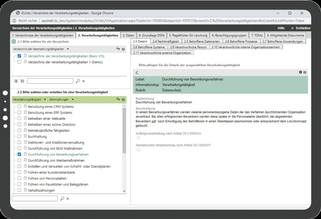 HiScout Datenschutz Screenshot