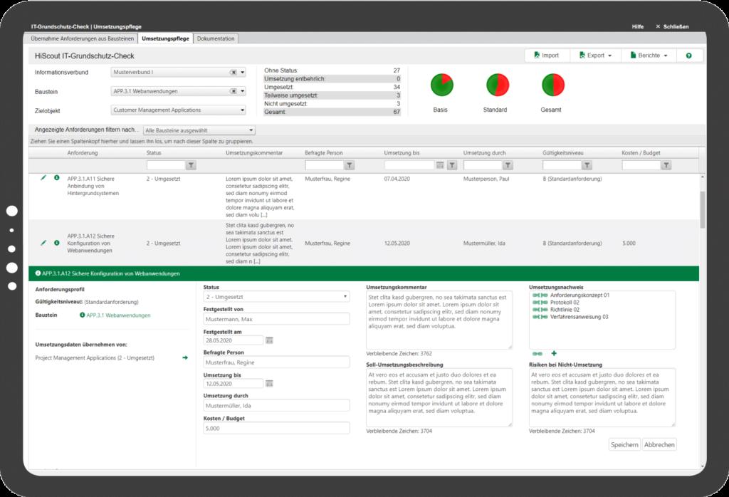 HiScout Grundschutz Screenshot